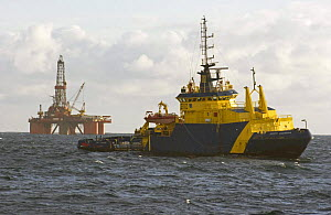 """Oil rig stand-by vessel """"M.V. Scott Guardian"""" in attendance with a drilling rig on the North Sea, April 2005.  -  Philip Stephen"""