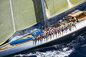 J-Class ^Ranger^ with the crew seated along the upside gunwale during Antigua Classic Yacht Regatta 2005, Caribbean.  -  Onne van der Wal
