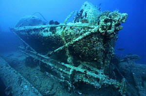Wreck of the SS Thistlegorm, a sunken war ship located in the Straits of Gubal, Northern Red Sea. She was sunk by German bomber planes in World War II ^^^and has lain at the bottom of the sea for over...  -  Angelo Giampiccolo