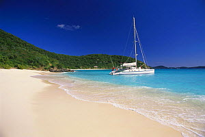 Catamaran anchored off beach in White Bay, Jost Van Dyke Island (JV Dyke), British Virgin Islands (BVI). - Roberto Rinaldi