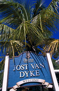 Welcome sign at Great Harbour, Jost Van Dyke Island (JV Dyke), British Virgin Islands (BVI) - Roberto Rinaldi