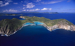 Aerial view of Ginger Island in the foreground with Cooper Island behind, British Virgin Islands (BVI). - Roberto Rinaldi