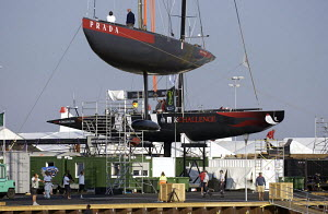 """K-Challenge"" on the dock with ""Luna Rossa"" ready to be craned into the water for Louis Vuitton Act 6, Malmo, Sweden, 2005. - Franck Socha"
