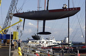 "Italian IACC yacht, ""Luna Rossa Challenge"" being craned into the water during the 2005 Louis Vuitton Acts in Malmo-Skane, Sweden. - Franck Socha"