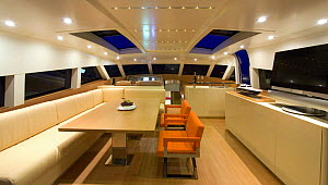 Living area aboard a Continential 80 motor yacht, designed and built at Cantieri CNM. Cannes, France.  -  Angelo Giampiccolo