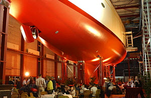 """Adele"" before she had been launched in the water. This view from below shows her shiny new propellor. The picture was taken at Adele's launch party at Vitters on 2nd April 2005. - Rick Tomlinson"