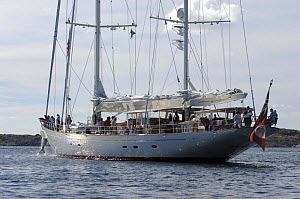 """180ft Superyacht """"Adele"""" raising its anchor in Swedish waters during her maiden voyage in 2005.  Non editorial uses must be cleared individually. - Rick Tomlinson"""