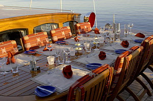 """Dining area on Superyacht """"Adele"""". ^^^Adele is a 180-foot Andre Hoek designed yacht, built by Vitters Shipyard, Holland, and owned by Jan-Eric Osterlund.  -  Rick Tomlinson"""
