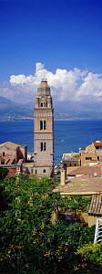 Late Romanesque bell tower of the cathedral in Gaeta, Latina, Lazio, Italy. The tower has a roof made of colored ceramic tiles, situated in the medieval area of Gaeta, known as Sant' Erasmo. - Angelo Giampiccolo