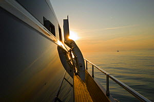 Sunset view from onboard Velvet 83', a luxurious motoryacht model from boatbuilders Cantieri Tecnomar, Viareggio, Italy.  -  Angelo Giampiccolo