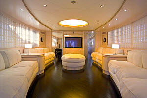 A luxurious living room below decks, complete with HD flat screen, on the 35-metre Gaia motoryacht, created by Cantieri Maiora, Italy.  -  Angelo Giampiccolo