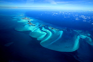 Aerial view of Exuma, part of the chain of 365 islands that form the Bahamas.  -  Onne van der Wal