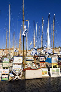 Local artists line the busy harbourside in St Tropez, France, during the annual regatta Les Voiles de St Tropez. October 2006 - Rick Tomlinson