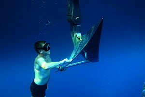 """First mate Mark Thrikettle cleaning the anchor of """"Adele"""" during cruise off coast of Huahine, French Polyenisia. - Rick Tomlinson"""