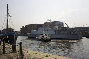 """Warship """"HMS Walney"""", entering the Albert Dock, Liverpool. All non-editorial uses must be cleared individually. - Graham Brazendale"""