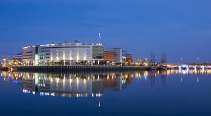 W5 Interactive Centre lit up at night during the 2006 Maritime Festival. Belfast, Northern Ireland. - Graham Brazendale