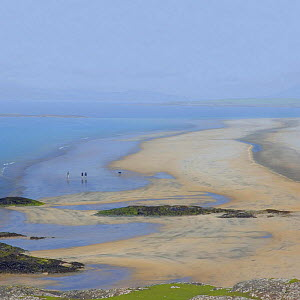 Three dog walkers on the deserted Wesport beach, Co Mayo, Ireland.  -  Marc Robillard