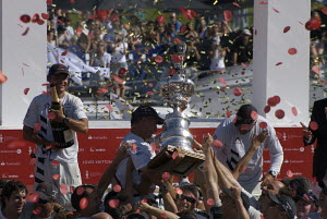 "Ernesto Bertarelli, Ed Baird and Brad Butterworth of ""Alinghi"", celebrating after winning the 32nd America's Cup, Valencia, Spain, July 2007.  -  Franck Socha"