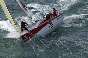 """""""Groupe Bel"""" skippered by Pietro D'ali and Kito De Pavant, at the start of the 32ft class in the Figaro Transat AG2R 2006, Concarneau, France. 4th April 2006. For EDITORIAL use only. - Yvan Zedda"""