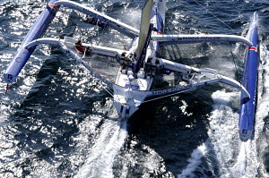 "Aerial view of ORMA 60ft trimaran ""Banque Populaire"", skippered by Pascal Bidegorry, Route du Rhum 2006, St Malo, Brittany, France. 20th September 2006. For EDITORIAL use only. - Yvan Zedda"