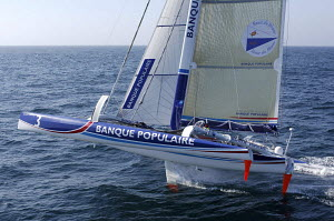 "ORMA 60ft trimaran ""Banque Populaire"", skippered by Pascal Bidegorry, Route du Rhum 2006, St Malo, Brittany, France. 20th September 2006. For EDITORIAL use only. - Yvan Zedda"