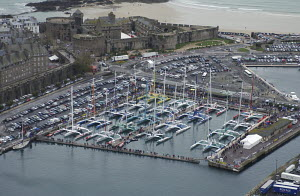 Yachts moored in St Malo harbour for the beginning of the Route du Rhum 2006, France. For EDITORIAL use only. - Yvan Zedda