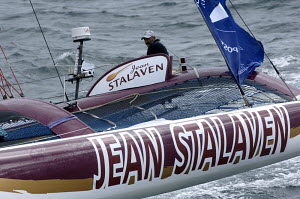 "50ft trimaran ""Jean Stalaven"", skippered by Pascal Quintin, Route du Rhum 2006. For EDITORIAL use only. - Yvan Zedda"