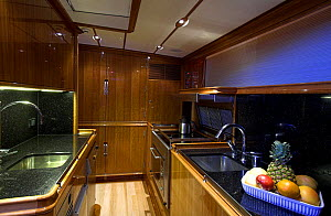 """Interior galley on 140ft luxury schooner """"Skylge"""", designed by André Hoek and built by Holland Jachtbouw, sailing in the French Riviera, France. Property released.  -  Onne van der Wal"""