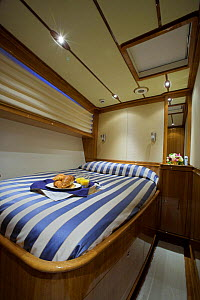 """Cabin room with breakfast tray onboard 140ft luxury schooner """"Skylge"""", designed by André Hoek and built by Holland Jachtbouw, sailing in the French Riviera, France. Property released.  -  Onne van der Wal"""