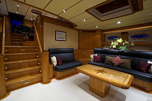 """The main saloon onboard 140ft luxury schooner """"Skylge"""", designed by André Hoek and built by Holland Jachtbouw, sailing in the French Riviera, France. Property released.  -  Onne van der Wal"""