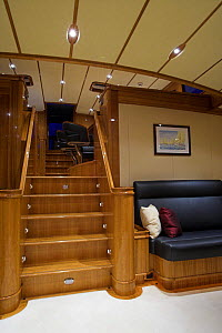 """The staircase from the main saloon to the dining area onboard 140ft luxury schooner """"Skylge"""", designed by André Hoek and built by Holland Jachtbouw, sailing in the French Riviera, France. Property re...  -  Onne van der Wal"""