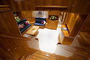 """Looking down the staircase to the main saloon onboard 140ft luxury schooner """"Skylge"""", designed by André Hoek and built by Holland Jachtbouw, sailing in the French Riviera, France. Property released.  -  Onne van der Wal"""