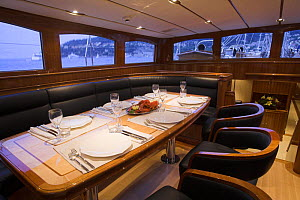 """Table set up for dinner onboard 140ft luxury schooner """"Skylge"""", designed by André Hoek and built by Holland Jachtbouw, sailing in the French Riviera, France. Property released.  -  Onne van der Wal"""
