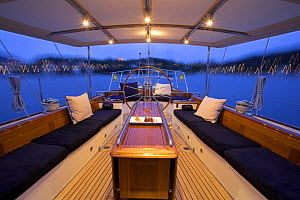 """The aft deck set up with cusions and pillows onboard 140ft luxury schooner """"Skylge"""", designed by André Hoek and built by Holland Jachtbouw, sailing in the French Riviera, France. Property released.  -  Onne van der Wal"""