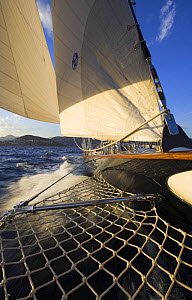 """Looking towards the stern from the bowsprit onboard 140ft luxury schooner """"Skylge"""", designed by André Hoek and built by Holland Jachtbouw, sailing in the French Riviera, France. Property released.  -  Onne van der Wal"""