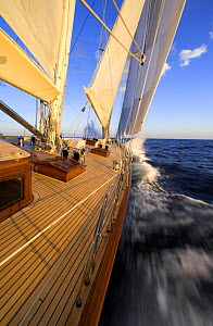 """The bow of 140ft luxury schooner """"Skylge"""" designed by André Hoek and built by Holland Jachtbouw, crashing into a wave while sailing on the leeward rail, French Riviera, France. Property released.  -  Onne van der Wal"""