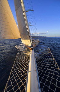 """Looking back to the boat from the bowsprit of 140ft luxury schooner """"Skylge"""", designed by André Hoek and built by Holland Jachtbouw, sailing in the French Riviera, France. Property released.  -  Onne van der Wal"""