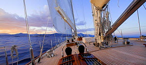 """Sailing into the sunset onboard 140ft luxury schooner """"Skylge"""", designed by André Hoek and built by Holland Jachtbouw, sailing in the French Riviera, France. Property released.  -  Onne van der Wal"""