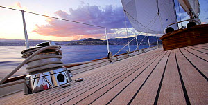 """Detail of the teak decking onboard 140ft luxury schooner """"Skylge"""", designed by André Hoek and built by Holland Jachtbouw, sailing in the French Riviera, France. Property released.  -  Onne van der Wal"""