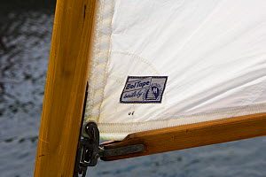 Boom and mast detail on a wooden sailing boat at the Newport Wooden Boat Show, Rhode Island.  -  Onne van der Wal