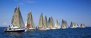 Yachts lined up at the start line at the Farr 40 one-design class World Championship.  -  Onne van der Wal