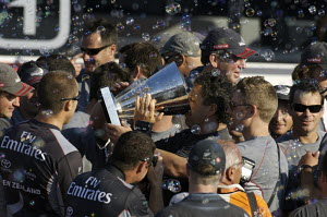 """Team New Zealand"" drinking from the Louis Vuitton Cup trophy after winning the fifth and last match of the Louis Vuitton Cup Final and becoming the new official Challenger to the 2007 America's Cup,...  -  Franck Socha"