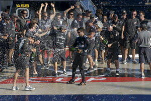 """Team New Zealand"" celebrating with the Louis Vuitton Cup trophy after winning the fifth and last match of the Louis Vuitton Cup Final and becoming the new official Challenger to the 2007 America's Cu...  -  Franck Socha"