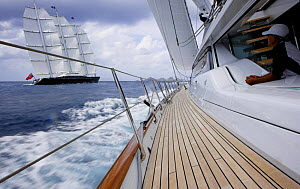 """View from the deck of a neighbouring yacht of megayacht """"Maltese Falcon"""" during the St Barth's Bucket 2007, St Barthelemy, Caribbean.  -  Onne van der Wal"""