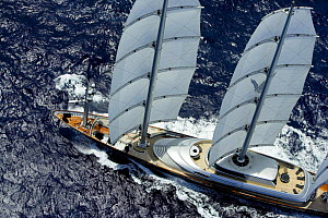 Aerial view of megayacht ^Maltese Falcon^ during the St Barth's Bucket 2007, St Barthelemy, Caribbean. Property released.  -  Onne van der Wal
