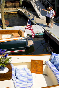 Boats docked for the annual Newport Boat Show, Rhode Island, USA. September 2006. Hinckley Picnic Boat in the foreground.  -  Onne van der Wal