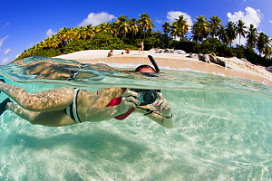 Split-level view of a woman snorkeling with a camera off a tropical beach, British Virgin Islands, Caribbean, December, 2006. Model Released.  -  Onne van der Wal