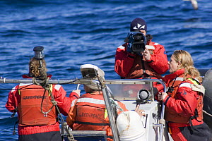 Greenpeace activists in the North Sea, with cameraman.  -  Philip Stephen