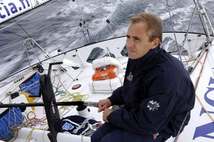 """Emmanuel Le Borgne at the helm of OPEN 60 """"Foncia"""", training for the two-handed Transat Jacques Vabre 2007 (TJV). For EDITORIAL use only. - Yvan Zedda"""