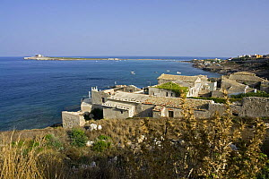 The ancient tuna fishing factory and small houses at Portopalo di Capopassero (Siracusa) with the island of Capo Passero, the most southern point of the italian peninsula, in the background, Italy.  -  Angelo Giampiccolo